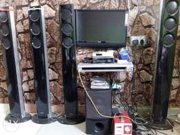 Home theater,LG 22inch television,stabilizer,tiger generator, fan
