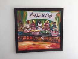 3 beautiful pieces of African art in beautiful wooden frame