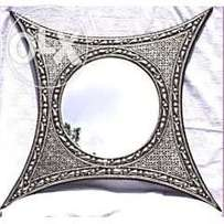 Handmade Moroccan Imported Detailed design Metal four pointed mirror