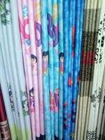 Ready made curtains with printed matching sheer at 900 per meter.