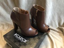 bd7ce103 Piękne nowe brązowe skórzane botki firmy Kazar rozm 37