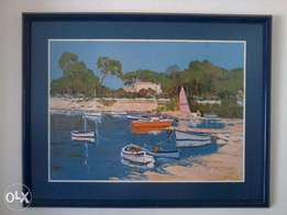 Beautiful large Nautical Mediterranean themed glass framed art by Erne