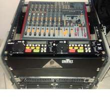 Flight case with powered 12 channel amp and cd player