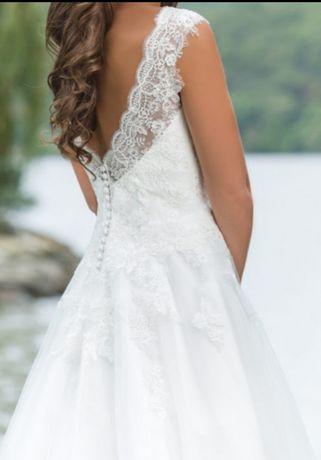 Piękna Suknia ślubna Z Trenem Koronka Welon M L Kolor Iwory