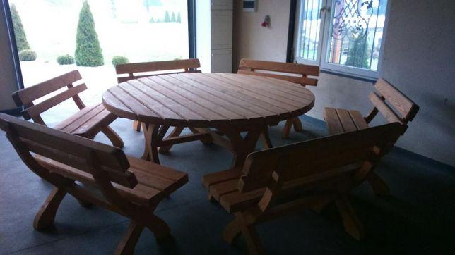 Meble Ogrodowe Drewniane Zestaw Do Ogrodu Okrągły Z Drewna