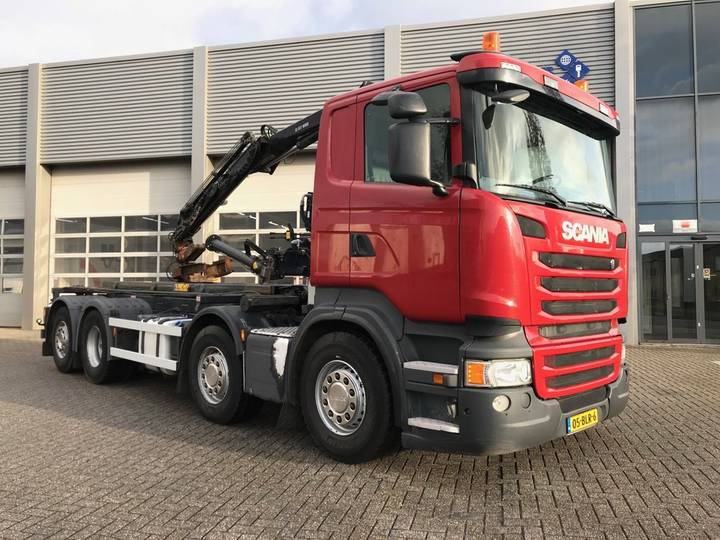 Scania R410 / 8x2 / Lift Axle / HIAB Crane / Container System - 2014