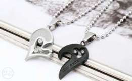 Couple chain necklace and pendants