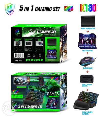 5 in 1 Gaming set K180, mobile phone holder +gaming mouse+pad+2 more