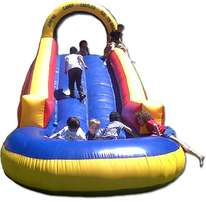 jumping castle gladiator waterslide with pond for sale