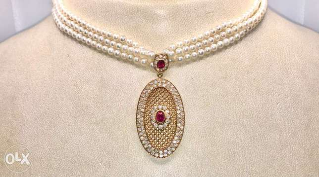 Pearl Diamond Ruby Necklace