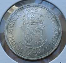 Excellent 1957 S.A silver 2 1/2 Shillings