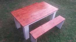6 seater bench and table
