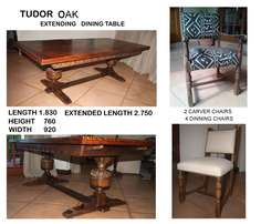 Tudor Oak Extending Dinning Table, 2 Carver Chairs & 4 Dinning Chairs