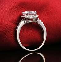 CZ Crystal Silver Engagement Ring