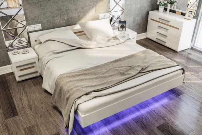 спальня бьянко кровать в белом цвете глянец модульная ирпень буча 2