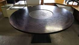 Mahogany finish round boardroom table - Clearance Sale