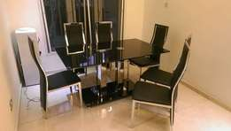 Dining table mini executive glass with chairs