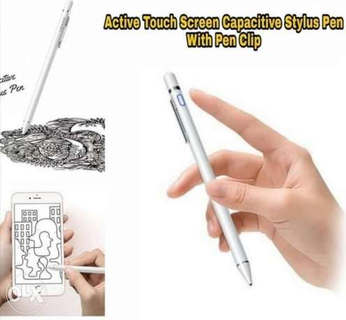 Active Touch Screen Style Pen With Clip