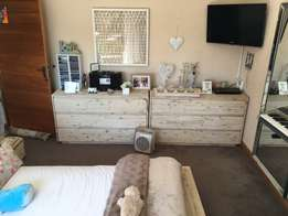 queen brand new bed with side tbls and two chest of drawers