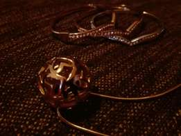Rose gold plated necklace and bracelets
