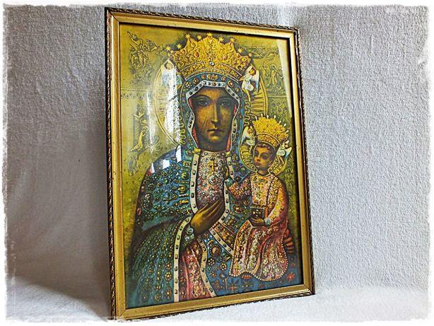 Ogromnie Stary Obraz Matki Boskiej z dzieciątkiem w ozdobnej złoconej ramie IJ07