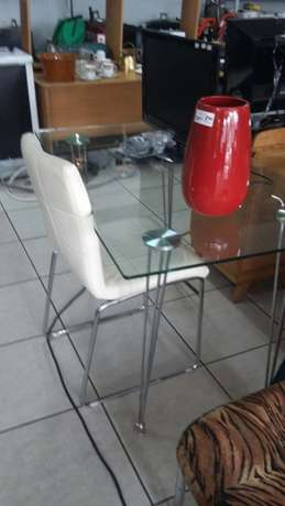 Glass and chrome desk with chair Benoni - image 1