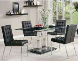 Glass dining table two leg by4 with executive chairs