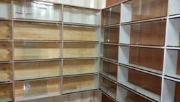 Shop shelves and glass fittings