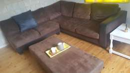 Cosy L shape Crafton Everest Brown Suade and Leather lounge suite