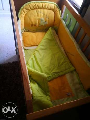 Baby bed + mattress+ set for bed from 4pic.