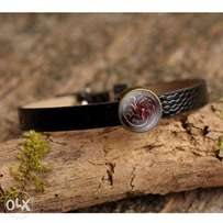 Women Game of Thrones Leather Bracelet Glass Art