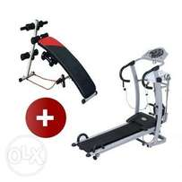 Easy-Up Manual Treadmill - Masager Brand + Free Situp Bench