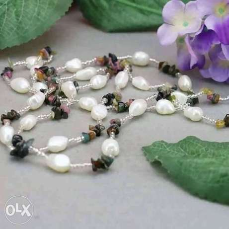 Fresh Water Pearls and Jade Stones Necklace