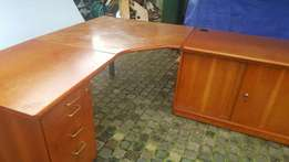 Cherrywood desk with pedestal & credenza