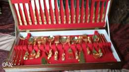 12 Piece gold plated cutlery set