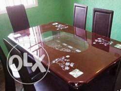 Quality Glass Brown Dining Table & Chairs