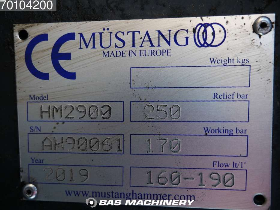 Mustamg HM2900 New hammer - suits 32 - 60 ton excavator - 2019 - image 8