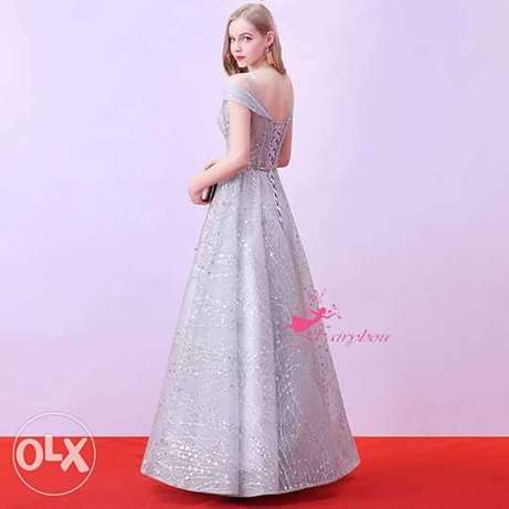 elegant shiny silver evening dress brand new for sale