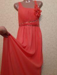 be244c4f1ad Платье сарафан платье длинное коралл с цветами шифон М-Л