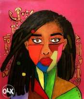 African acrylic painting