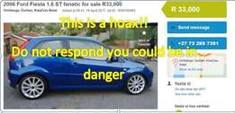 2006 Ford Fiesta 1.6 ST R33,000 umhlanga is a HOAX!!