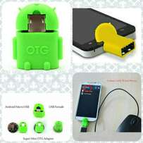 Robot Shape Micro usb to USB OTG Adapter connect to flash