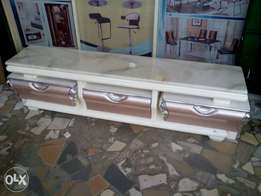 Adjustable tv stand cream marble top