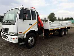 2007 Nissan UD80 Dropside with cab mounted Fassi Crane
