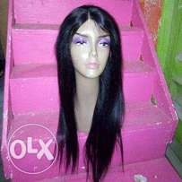Human hair straight wig with closure