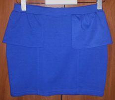 Spódnica prosta ołówkowa kobaltowa chabrowa szafirowa S36