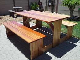 8 Seater picnic bench. Treated Saligna wood.