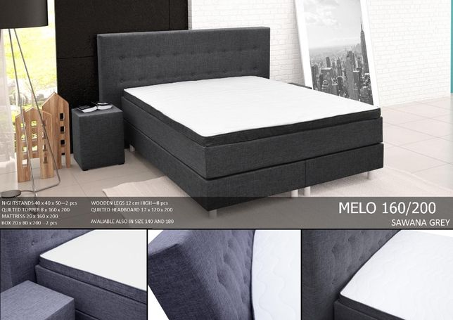 łóżko Kontynentalne Melo 160200 Stoliki Nocne Gratis Byków