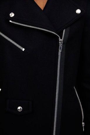Wełniany płaszcz z suwakami i futerkiem Zara S 36 Sosnowiec