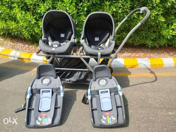 Twin stroller with car seat